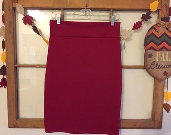 Small- Red Textured Pencil Skirt