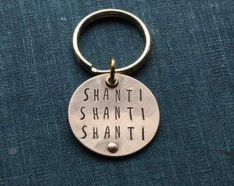 Shanti Key Ring // Personalized // Hand Stamped // Brass // Silver