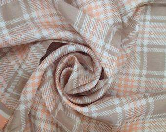 Pure Silk Vintage Square Scarf -  Pink Taupe and White Tartain Plaid - New Perfect Unused from 1980s Stock
