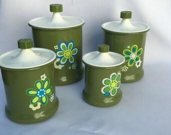 SUPER Cute, Retro, Mod Kromex Aluminum Nesting Canister set, Kitchen Decor, Kitchen Storage Avacado Green
