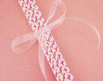 White with Pink Ribbon Breast Cancer Awareness Paper Straws