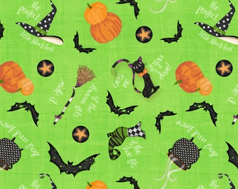 "Wilmington Prints ""Every Witch Way"" Green Halloween Tossed by Jennifer Pugh"