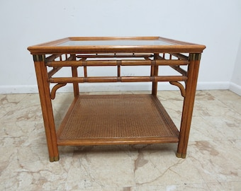 Vintage Mid Century Campaign Faux Bamboo Carved Lamp End Table Stand A