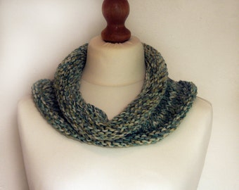 Infinity Scarf Chunky Hand Knitted, Snood, Cowl, Circle Scarf, Loop Scarf, Neck Warmer, in Shades of Blue, White, Green, Turquoise