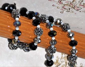 Black Rhinestone Beads, 29 Inch Necklace, Rhinestone Necklace, Silver Luster Beads, Black Faceted Beads, Elegant Necklace, Elegant Jewelry