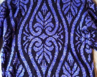 Vintage Blue and Black Sparkle Sweater