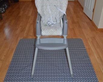 Chevron Black & White Splat Mat / Art  Mat - Baby High Chair Washable Protection - Choose Your Patttern