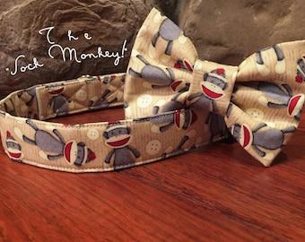 Dog collar, Sock monkey dog collar, sock monkey, dog bow tie, sock monkey collar, collar bow tie, fun dog collar, monkey dog collar