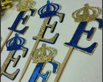 12 Glitter Royal Cupcake Toppers, Royalty Cupcake Toppers