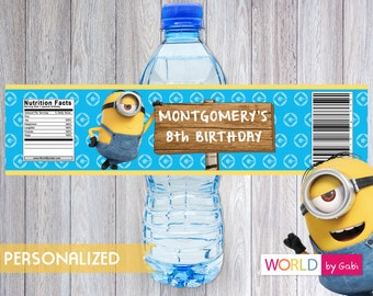 Minion Birthday Water Bottle Label | Minion Birthday | Minion Party | Minions Decorations | Minion Party Ideas | Minions Party Supplies