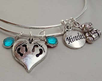 TWINS Charm /  Teddy Bear / Miracles charm Bangle  W/ Birthstones / New Mothers / Gift For Her - Undr 20 Usa TW1