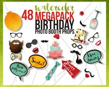 MEGAPACK - Birthday PRINTABLE Photo Booth Props, Party Props, 48 Piece watercolor props, Set 2