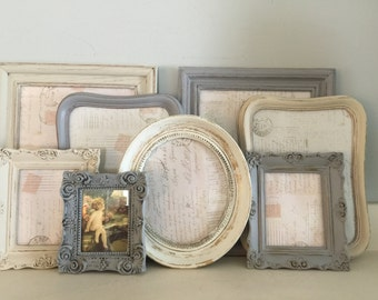 Shabby Chic, French Country,  Cottage,  White, Cream's, & Gray's, Picture Frame Collection