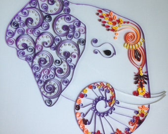 Handmade Quilled Paper Decorated Elephant Art