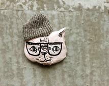 Cat brooch Pink cat, Brooches cats, Cat pin, Love cats, Papier mache cat brooch, Cat jewelry, Cool cat brooch, Cool cat pin, Paper mache cat