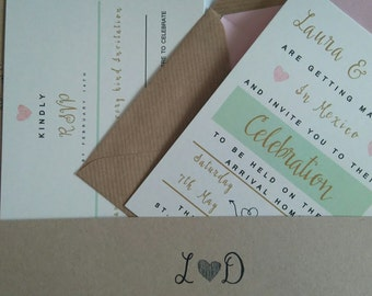 Wedding invitations, rustic invitations, pastel wedding invitations, - Laura