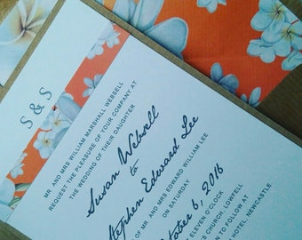 Wedding invitations, floral brights, lined envelopes, romantic fonts