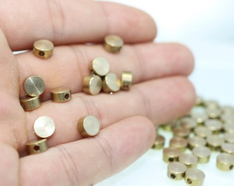 10/50/100 Pcs Raw Brass Spacer Beads - 3.5mm x 7mm Spacer Connector - Brass Findings -  Circle Beads - Round Beads -