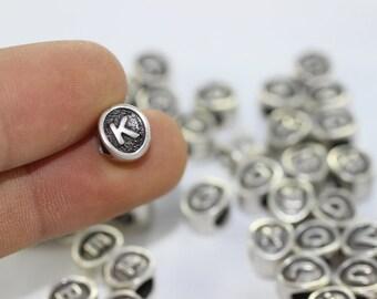 4 pcs Letter K antique silver alphabet beads 7.5x8.5mm - alphabet letters beads - initial charm beads - beads for European style bracelets