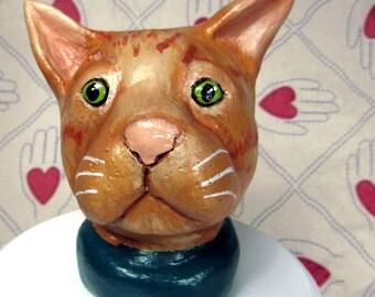 Orange Tabby Cat Ceramic Sculpture