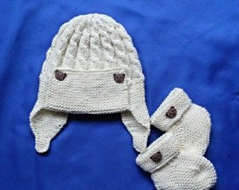 Baby's Aviator Style Hat and Booties