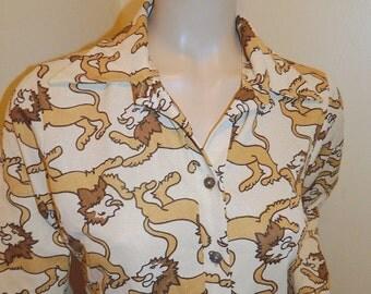 Vintage Avante Garde 70's Hippie Boho Polyester shirt blouse Lions