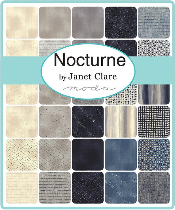 "LAYER CAKE - Nocturne by Janet Clare - Moda Fabrics - 42  10"" Squares, Precuts, 100% Cotton Fabric"