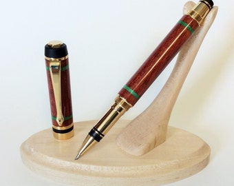 Handmade Wood Rollerball Pen, Bloodwood with Green Box Elder Burl
