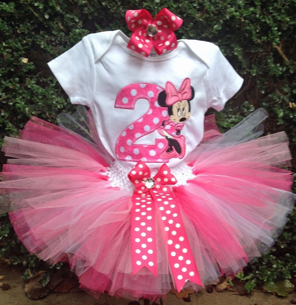 Minnie Mouse Hot Pink 2nd Birthday Outfit Onesie Tutu And FREE