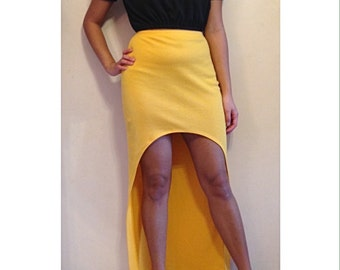 High Waisted High-Low Maxi Skirt / High Waisted / High-Low / Maxi / Maxi Skirt / Skirt / Yellow Maxi Skirt / Yellow Skirt / Hi-Lo Maxi Skirt