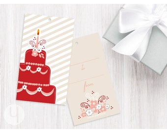Red Cake Gift/Favor Tags (Set of 12)