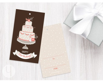 Coral Cake Gift/Favor Tags (Set of 12)
