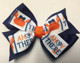 """4"""" Crab Ahoy There nautical navy blue orange hair bow clip birthday party favor baby toddler teen pinwheel lobster cruise beach vacation"""