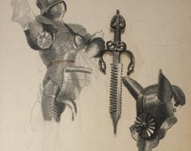 English School Circa 1940 Knight in Armour With Dagger and Head Armour Original Illustration - Black and White - vintage  Art