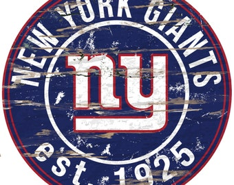 """NFL New York Giants Round Distressed Established Wood Sign 24"""" In Diameter"""