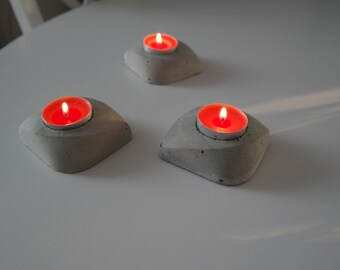 3 concrete tealight holders - Set of three concrete eye-shaped tealight holders -  beton, interior decorations for your interiors.