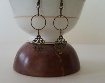 Antiqued brass filigree ear drops