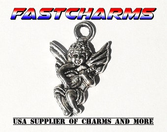 5+ CHERUB CHARMS, jewelry making supplies, charms for bracelets, 1.7cmx1.7cm, antique silver, jewelry findings, boho findings (YB12A)