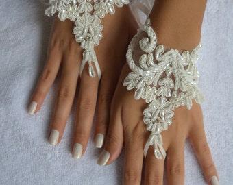 ivory wedding glove unique Original design Wedding Gloves ivory lace gloves Fingerless Gloves Free Ship