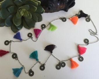 Aloha Tassel Necklace - Lime