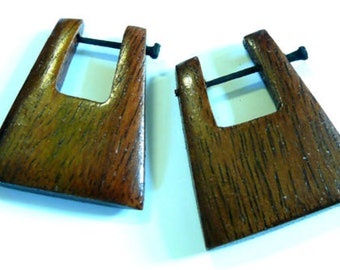 Earrings hoops Piercing wood Wooden Earrings spiral ethnic Brown