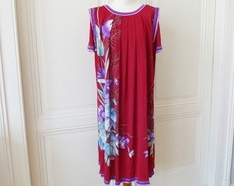 Vintage summer dress from Italy, dress with big flowers, Lido dress