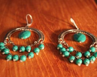 Hoop Turquoise Like Earrings