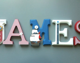 Marine/nautical theme decorated wooden wall letters