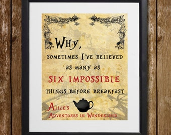 Alice's Adventures in Wonderland Six Impossible Things Wall Art - Lewis Carroll - Queen of Hearts - Red Queen Print - Wonderland Decor