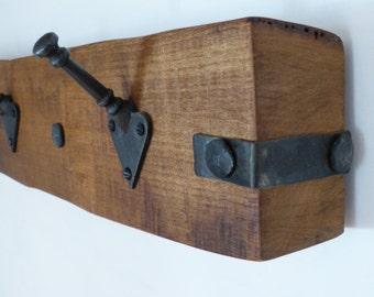 Waney Edged Oak Coat Rack with 5 Cast Iron Stick Hooks