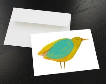 """Lot de 3 cartes de souhaits """"Oiseau jaune, turquoise, ocre"""". Format, une fois plié 5 x 7, intérieur blanc. Enveloppes comprises."""