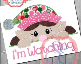 Elf Peeker Girl Applique Design For Machine Embroidery  INSTANT Download