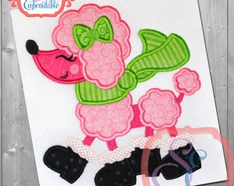 Winter Poodle Applique Design For Machine Embroidery  INSTANT Download