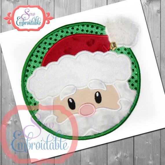 Santa circle applique design for machine embroidery instant